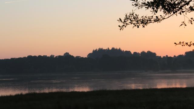 Réserve Ornithologique De Careil - photo au lever du jour avec un ciel rosé